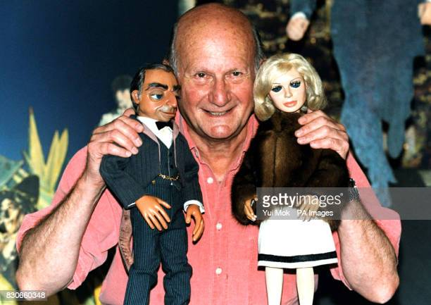 The Creator of the TV show 'Thunderbirds' Gerry Anderson says farewell to two of his most famous puppets Lady Penelope and Parker at Planet Hollywood...