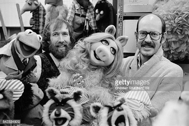The creators of the Muppet Show Jim Henson and Frank Oz with the main characters Kermit the Frog and Miss Piggy