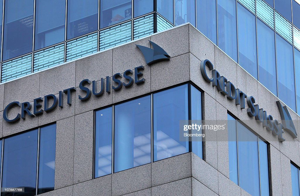 The Credit Suisse Group AG logo is seen on the bank's German headquarters in Frankfurt, Germany, on Wednesday, July 14, 2010. Credit Suisse Group AG's offices in Germany were searched today in a probe into allegations that its employees may have helped clients evade taxes. Photographer: Hannelore Foerster/Bloomberg via Getty Images