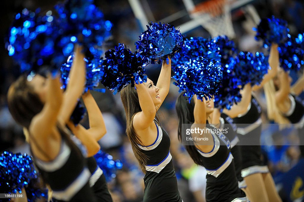 The Creighton Bluejays cheer leaders perform during a break in the action against the UAB Blazers during their game at CenturyLink Center on November 14, 2012 in Omaha, Nebraska. Creighton beat UAB