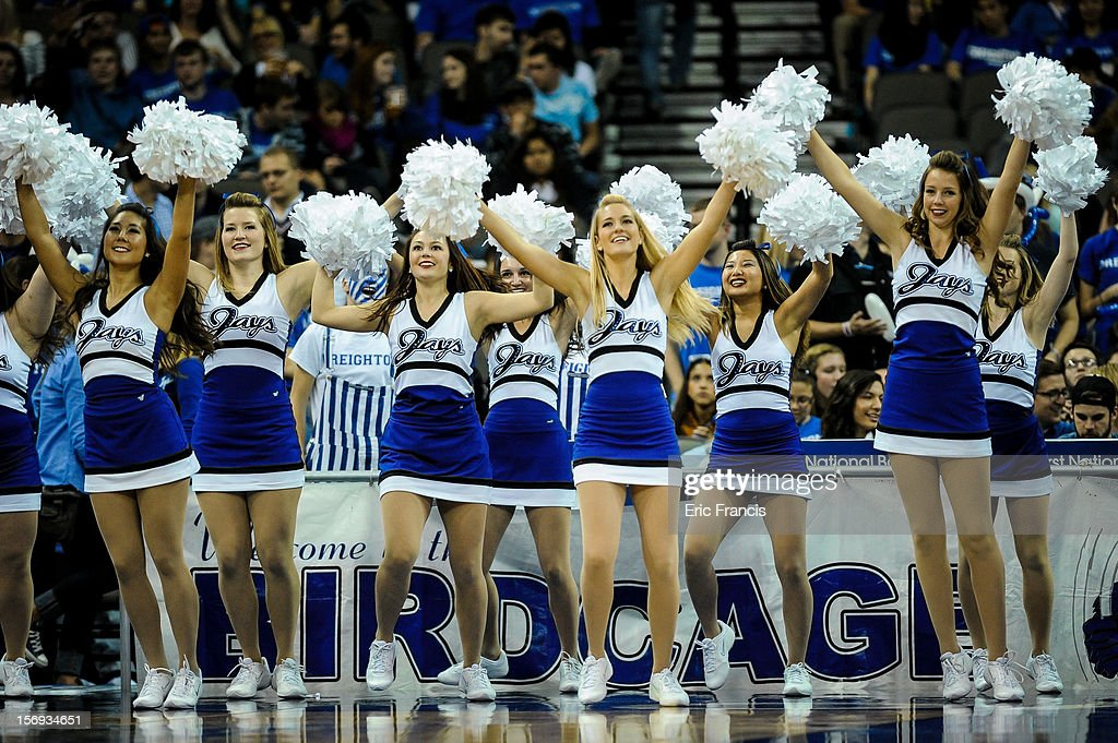 The Creighton Bluejays cheerleaders engage the crowd during a time out during their game against the Longwood Lancers at CenturyLink Center on November 20, 2012 in Omaha, Nebraska.