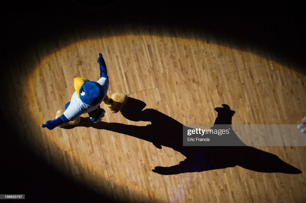 The Creighton Bluejays mascot plays to the crowd during the team introductions before their game Northern Iowa Panthers at the CenturyLink Center on January 15, 2013 in Omaha, Nebraska.