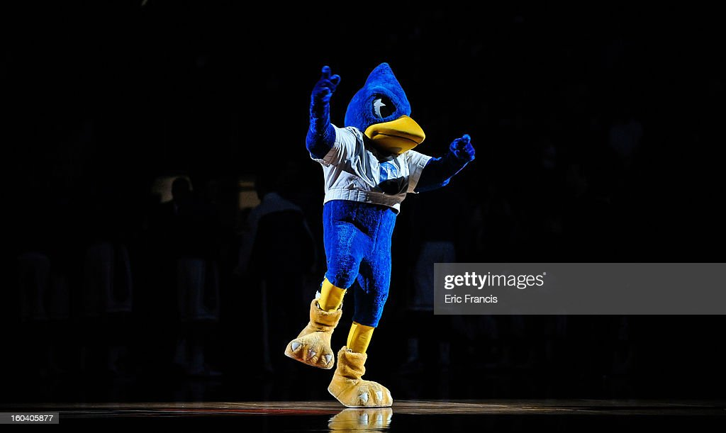 The Creighton Bluejays mascot works the crowd before their game against the Missouri State Bears at the CenturyLink Center on January 30, 2013 in Omaha, Nebraska.