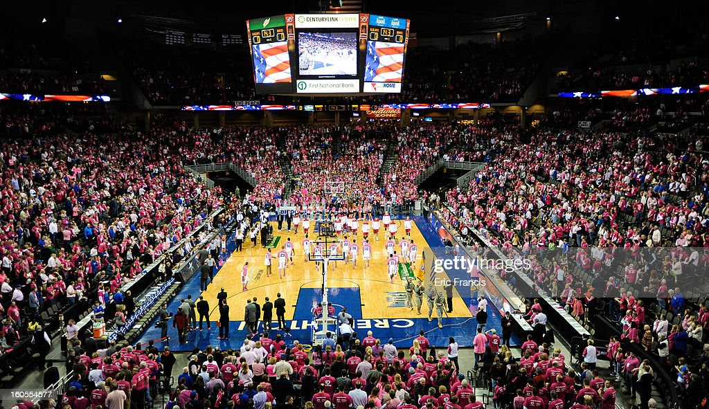 The Creighton Bluejays prepare to play the Bradley Braves before their game at the CenturyLink Center on February 2, 2013 in Omaha, Nebraska. Creighton defeated Bradley 75-58. Saturday was the Creighton Bluejays annual pink out in support of breast cancer awareness.