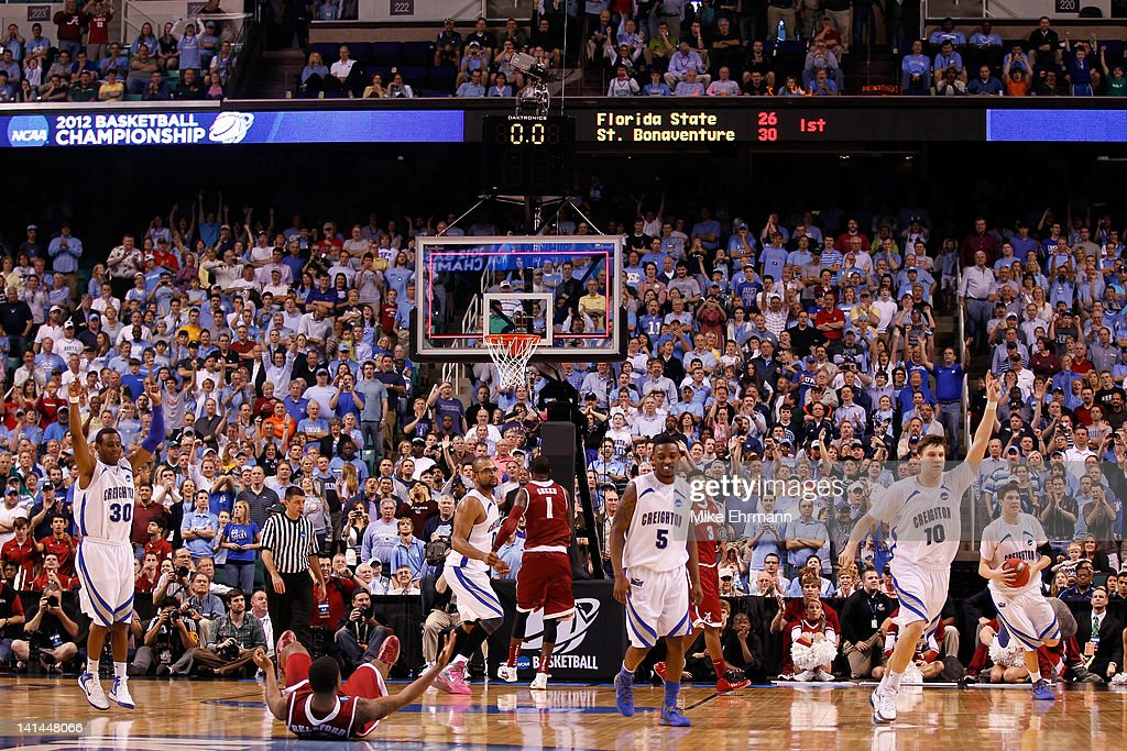 The Creighton Bluejays reacts after defeating the Alabama Crimson Tide during the second round of the 2012 NCAA Men's Basketball Tournament at...