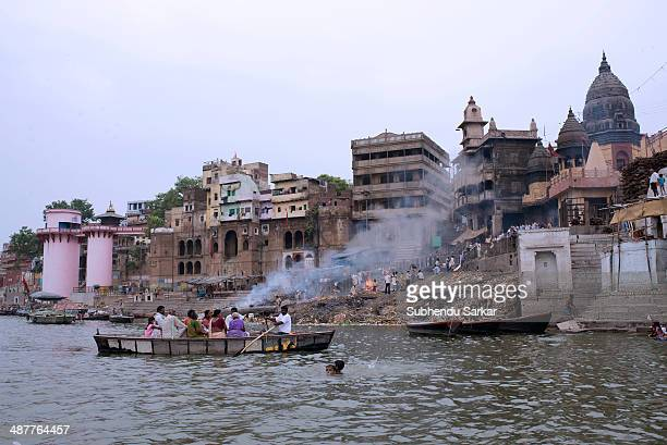 The crematorium at Manikarnika ghat is seen from the Ganges Varanasi is a holy city on the banks of the Ganges