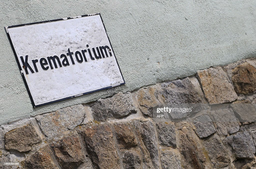 The crematorium sign is seen at the World War II concentration camp of Mauthausen, on April 17, 2013.