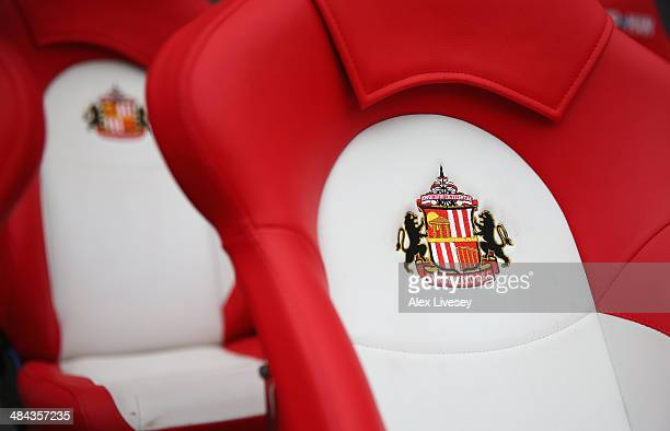 The crest of Sunderland FC is seen on the substitutes bench prior to the Barclays Premier League match between Sunderland and Everton at Stadium of...