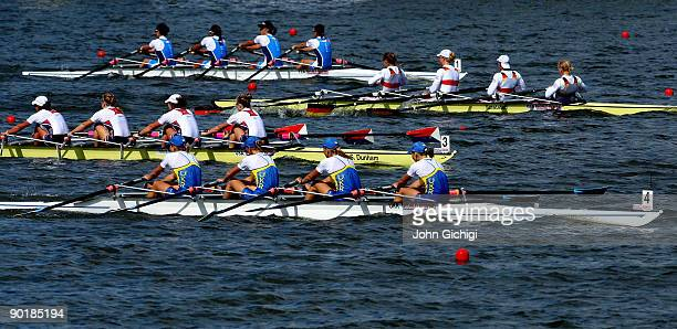 The crew from Ukraine overtake the others to win the Women's Quadruple Sculls during the World Rowing Championships on August 30 2009 in Poznan Poland