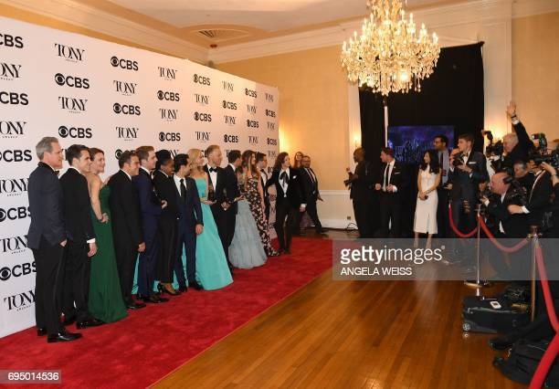 The crew of 'Dear Evan Hanson' winner of the award for Best Musical for Dear Evan Hanson poses in the press room during the 2017 Tony Awards at 3...