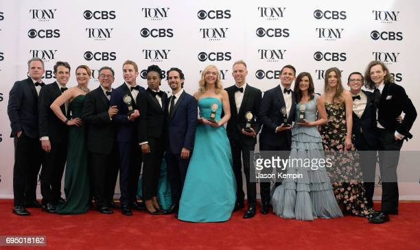 "The crew of 'Dear Evan Hanson' winner of the award for Best Musical for ""Dear Evan Hanson"" poses in the press room during the 2017 Tony Awards at 3..."
