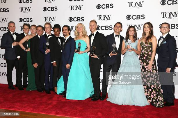 """The crew of 'Dear Evan Hanson' winner of the award for Best Musical for """"Dear Evan Hanson"""" poses in the press room during the 2017 Tony Awards at 3..."""