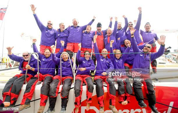 The crew of DerryLondonderryDoire celebrates shortly after arriving in San Francisco after racing from China in the Clipper Round the World Yacht...