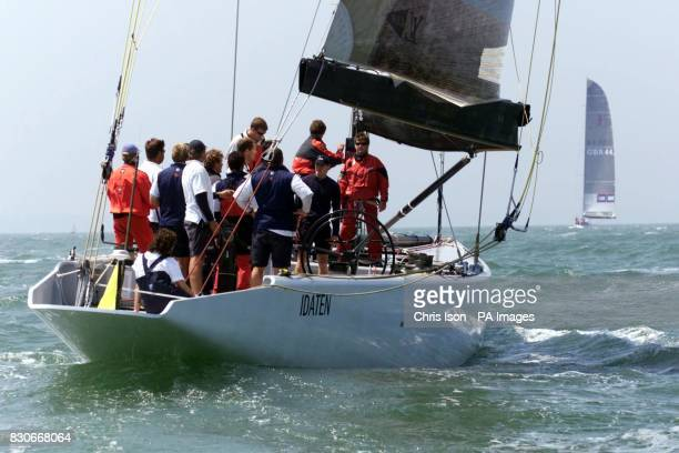 The crew of 'Idaten' the British entry for the America's Cup attempts to sheet in the mainsail after snapping their boom on the SolenT It is the last...