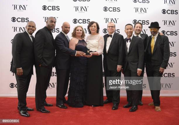 The crew of 'Jitney' winner of the award for Best Revival of a Play poses in the press room during the 2017 Tony Awards at 3 West Club on June 11...