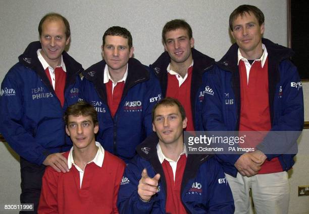 The crew of Team Phillips from left to right back row Graham Geoff Andy Hindley Alex Bennett and Paul Larsen front Row Philip Aikenhead Pete Goss the...