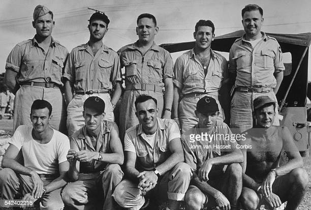The crew of the Bockscar the B29 which dropped an atomic bomb on Nagasaki The commander Major Charles Sweeney stands at far right the bombardier...