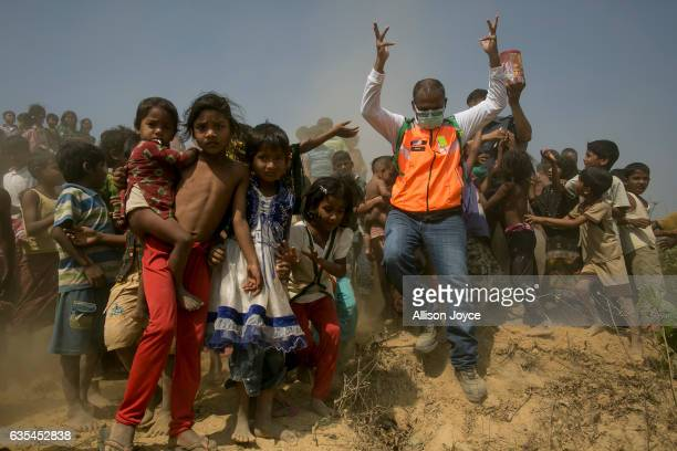 The crew of the Nautical Aliya provides relief to Rohingya refugees on February 15 2017 in Chittagong Bangladesh The Rohingya aid ship Nautical Aliya...