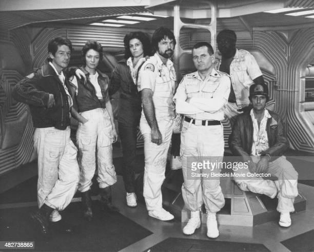 The crew of the Nostromo actors John Hurt Veronica Cartwright Sigourney Weaver Tom Skerritt Ian Holm Yaphet Kotto and Harry Dean Stanton in a...
