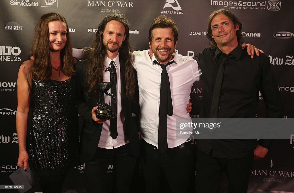 The crew of The Red House pose with their award for Best Self Funded Film during the MOA 'Unofficial' New Zealand Film Awards at The Civic on December 4, 2012 in Auckland, New Zealand.