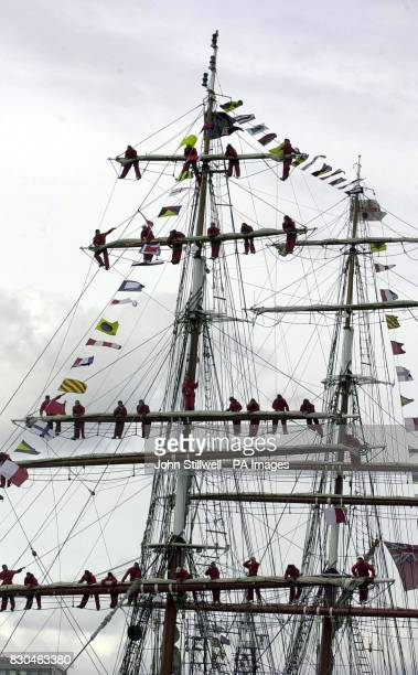 The crew of the sail training ship Stavros S Niarchos manning the yards as they leave the Pool of London The Niarchos is the first tall ship built in...