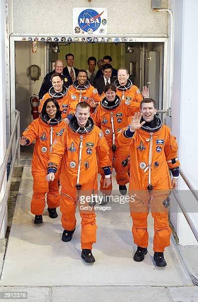 The crew of the Space Shuttle Columbia for mission STS107 in the first row Pilot William 'Willie' McCool and Commander Rick Husband second row are...