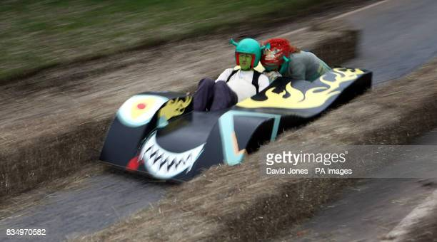 The crew of 'Wrecked 'em racing' negotiate the chicane at the Hoar Cross Downhill soapbox competition The competition organised by the 'Mad Club' in...