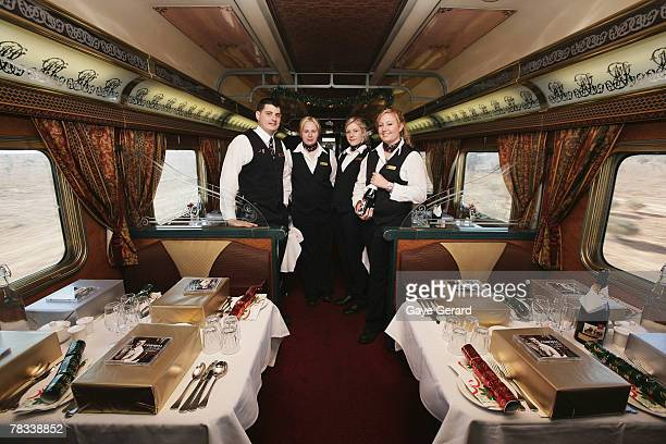 The Crew onboard the Indian Pacific prepare for Christmas Dinner on the train on December 6 2007 outside Adelaide AustraliaThe Great Southern...