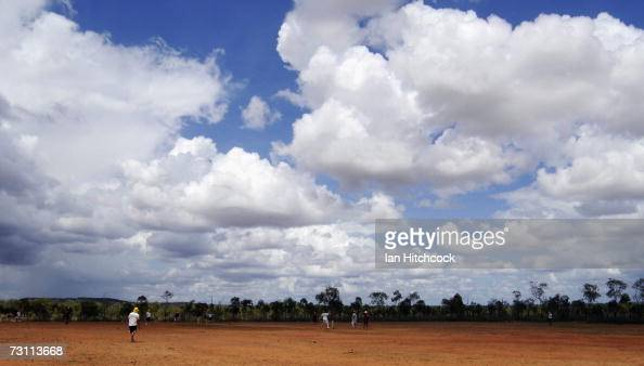 The cricket field at 'Drinkastubbie Downs' is seen during the Goldfield Ashes January 26 2007 in Charters Towers Australia Every Australia Day...