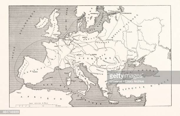Map Of Europe To Serve In The General War Against Russia In The Baltic Sea And The Black Sea Engraving