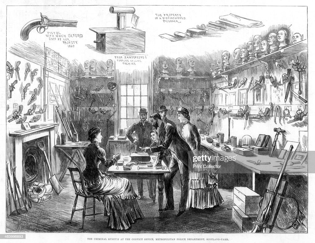 The Criminal Museum at the Convict Office Metropolitan Police Department Scotland Yard London 1883 A print from The Illustrated London News 13...