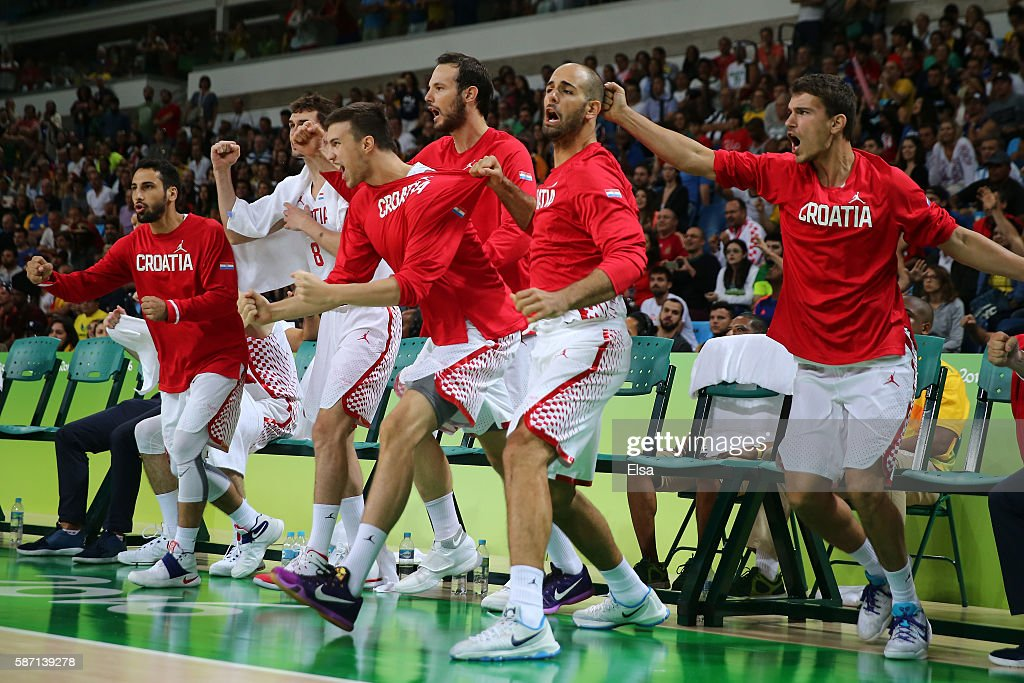 The Croatia team celebrates after defeating Spain during a Men's preliminary round basketball game between Croatia and Spain on Day 2 of the Rio 2016 Olympic Games at Carioca Arena 1 on August 7, 2016 in Rio de Janeiro, Brazil.