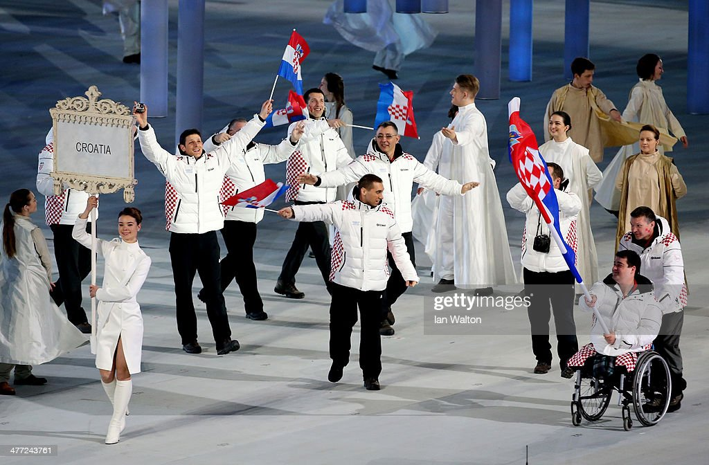 The Croatia team enter the stadium during the Opening Ceremony of the Sochi 2014 Paralympic Winter Games at Fisht Olympic Stadium on March 7, 2014 in Sochi, Russia.