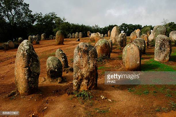 The Cromlech of the Almendres Megalithic complex Cromlechs and menhirs stones 6th millennium BC Neolithic Near Evora Alentejo region Portugal