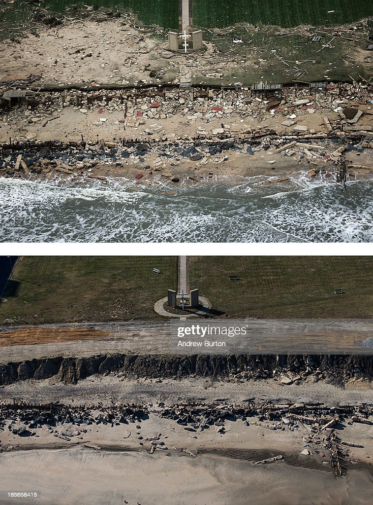 A church cross stands amid wreckage from Superstorm Sandy at the edge of the Atlantic Ocean on October 31, 2012 in Long Branch, New Jersey. (Photo by Mario Tama/Getty Images) LONG BRANCH, NJ - OCTOBER 21: (bottom) The cross is shown October 21, 2013 in Long Branch, New Jersey. Hurricane Sandy made landfall on October 29, 2012 near Brigantine, New Jersey and affected 24 states from Florida to Maine and cost the country an estimated $65 billion.