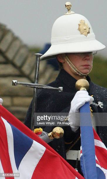 The Cross of Nails on top of the ceremonial drum head at the Falklands war commemoration at San Carlos Cemetery Falkland Islands