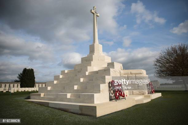 The Cross of Sacrifice stands at the Tyne Cot Cemetery on April 5 2017 in Zonnebeke Belgium July 31st marks the centenary of Passchendaele the bloody...