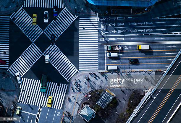 The crossing way of Ginza in Tokyo Japan