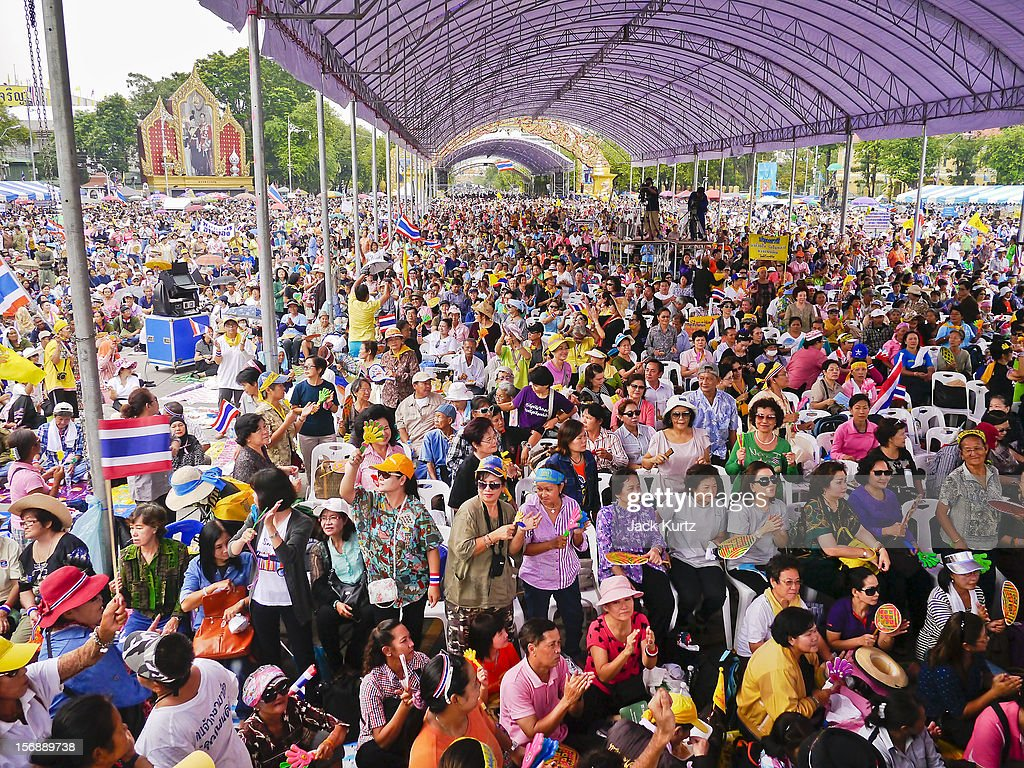 The crowd at a large anti government protest on November 24, 2012 in Bangkok, Thailand. The Siam Pitak group, which sponsored the protest, cited alleged government corruption and anti-monarchist elements within the ruling party as grounds for the protest. Police used tear gas and baton charges againt protesters.