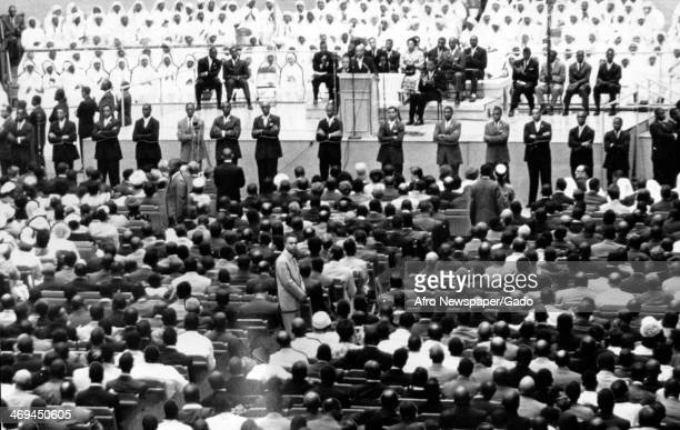 The crowd at a rally to hear Elijah Muhammad leader of the Nation of Islam Detroit Michigan 1959