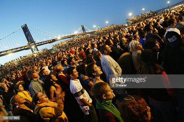 The Crowd at Bjork She opened her tour at Piers 30/32 in San Francisco under the Bay Bridge