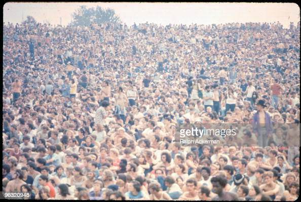 The crowd at the Woodstock music festival August 1969