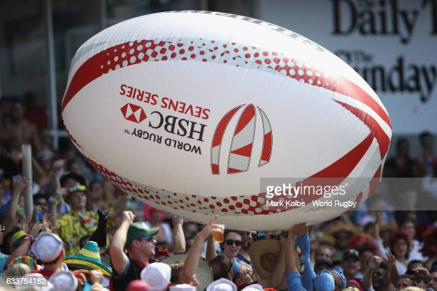 The crowd bounce a giant rugby ball during the 2017 HSBC Sydney Sevens at Allianz Stadium on February 4 2017 in Sydney Australia