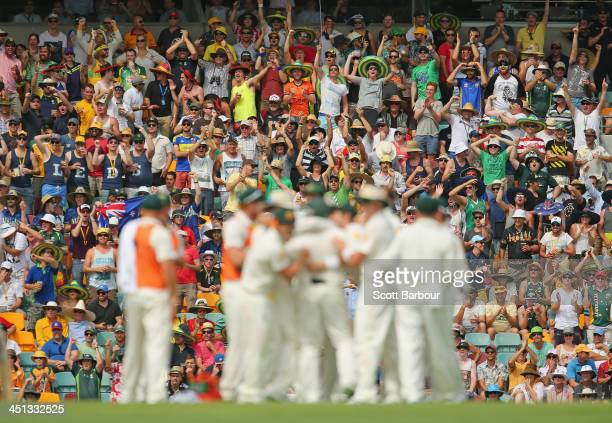 The crowd celebrates after Australia took a wicket during day two of the First Ashes Test match between Australia and England at The Gabba on...