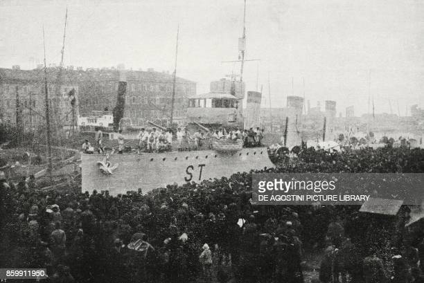 The crowd celebrating Stocco the first Italian ship to reach the port of Rijeka Croatia World War I from l'Illustrazione Italiana Year XLV No 48...