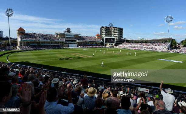 The crowd cheer as Ben Stokes of England dismisses South Africa captain Faf du Plessis during day three of the 2nd Investec Test match between...