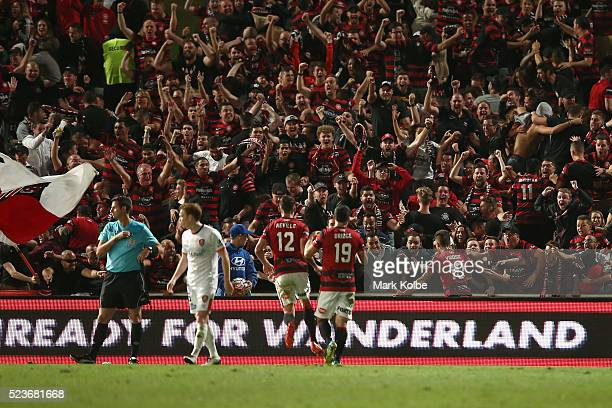 The crowd cheer as Dario Vidosic of the Wanderers celebrates scoring a goal during the ALeague Semi Final match between the Western Sydney Wanderers...