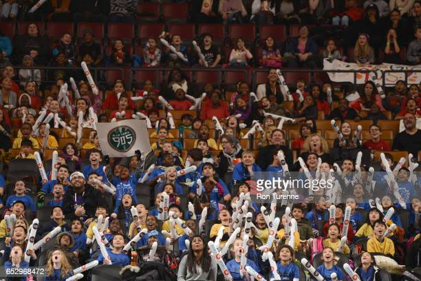 The crowd cheering during the game of the Raptors 905 against the Austin Spurs at the Air Canada Centre on March 13 2017 in Toronto Ontario Canada...