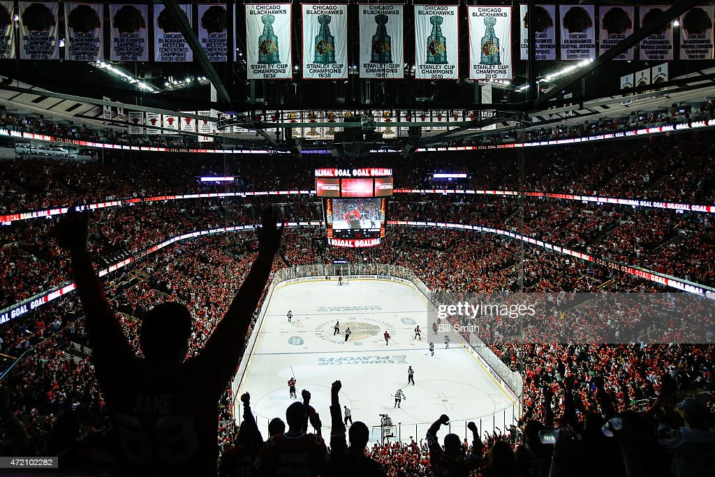 The crowd cheers after the Chicago Blackhawks scored against the Minnesota Wild in Game Two of the Western Conference Semifinals during the 2015 NHL...