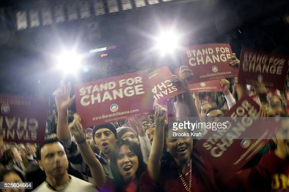 The crowd cheers as Democratic presidential hopeful Senator Barack Obama arrives at a campaign rally at the University of Maryland in College Park